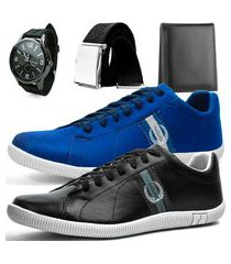 kit 2 pares de sapatênis casual dhl polo masculino azul e preto + relógio + cinto + carteira