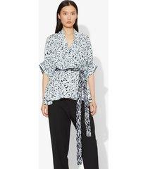 proenza schouler inky leopard print short sleeve wrap top black/sky blue inky leopard/white 2