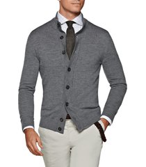 men's suitsupply slim fit wool cardigan sweater, size medium - grey