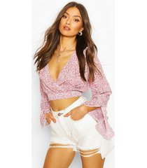 ditsy floral ruffle sleeve woven crop top, red