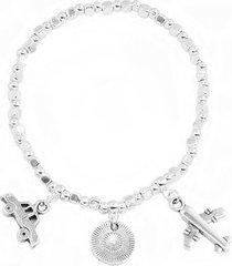 pulsera de mujer plateada viaggio vintage love silver collection by vestopazzo
