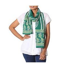 batik cotton scarf, 'verdant paisley' (india)