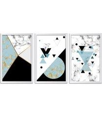 conjunto kit 3 quadro oppen house s 60x120cm escandinavo loen com vidro e moldura branca      quadro oppen house s decorativos - branco - dafiti