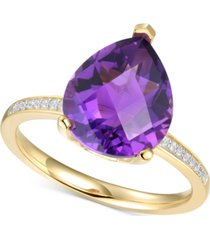 amethyst (2-1/2 ct. t.w.) & diamond (1/20 ct. t.w.) ring in 14k gold-plated sterling silver