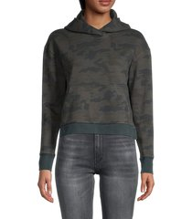 james perse women's camouflage-print cropped hoodie - camo - size 3 (l)