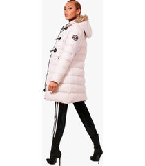 quilted faux fur hood parka, stone