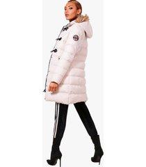 gewatteerde parka jas met stiksels en faux fur capuchon, steenrood