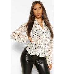 chiffon spot print oversized blouson blouse, ivory