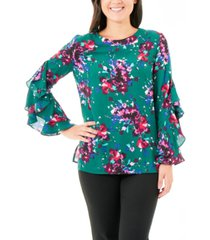 ny collection floral-print ruffled-sleeve top