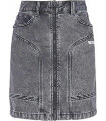 off-white zip denim miniskirt