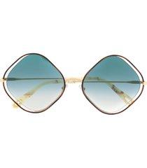 chloé eyewear poppy diamond-frame sunglasses - gold