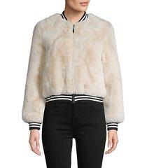 faux fur baseball jacket