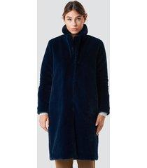 rut&circle long faux fur coat - blue