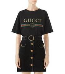 women's gucci logo tee, size small - black