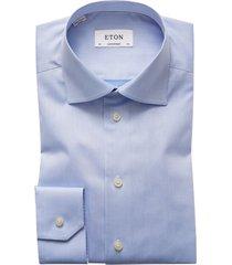 eton overhemd normal fit l.blue strijkvrij