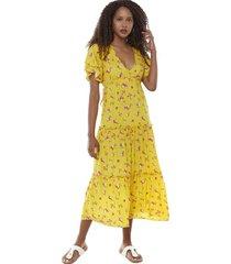 vestido largo volantes i amarillo flores mujer corona