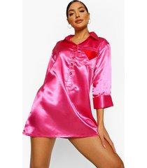 valentijns geborduurd satijnen hardjes pyjama blouse, hot pink