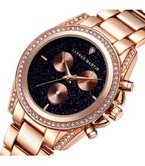 orologi da donna in oro rosa con cinturino in acciaio inossidabile con strass in acciaio inossidabile