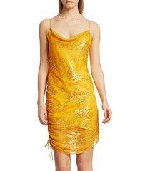 cinq à sept women's astrid shimmer jacquard mini dress - yellow - size 6