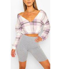 geruite korte sweater met v-hals, lilac