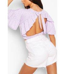 polka dot ruffle sleeve tie neck top, lilac