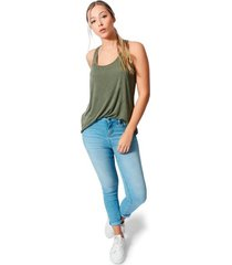 blusa cuello redondo tela viscosa para mujer color siete - verde