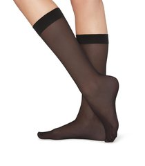 calzedonia - 20 denier 3/4 length sheer socks, one size, black, women