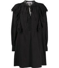 see by chloé tie-neck long-sleeve dress - black