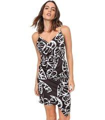 vestido my favorite thing(s) curto folhagem preto/branco - preto - feminino - poliã©ster - dafiti
