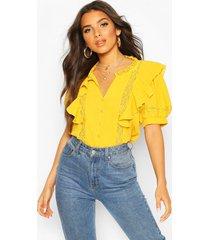 blouse met ruches en kanten inzetstuk, mosterd