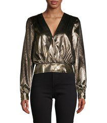 frame denim women's metallic blouson top - gold - size xs