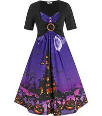 plus size o ring halloween pumpkin castle print dress