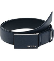prada flat buckle belt - blue