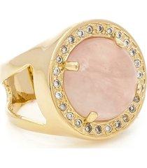 anel banhado a ouro quartzo rosa e zirconias
