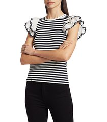 adrien ruffle-sleeve stripe top
