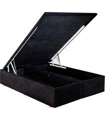 base cama box baú camurça preto queen 158x198x39 ortobom