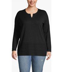lane bryant women's notch-neck sweater with pointelle hem 18/20 black