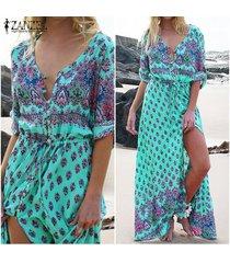 zanzea de manga larga con cuello en v de talle alto casual floral retro imprimir beach party atractivo de las mujeres vestido largo maxi vestido suelto vestidos (verde) -verde