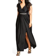 plus size women's city chic flirty drape maxi dress, size small - black