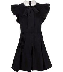 red valentino peter pan collar flared dress - black