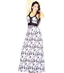 maxi-vestido estampado sarab/mv-001ng negro-gris