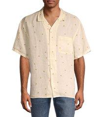 madewell men's floral short-sleeve linen shirt - white - size m