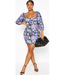 plus floral puff sleeve mini dress, purple