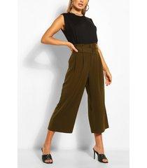 woven self-fabric belt culottes, khaki