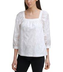 calvin klein cotton square-neck blouse