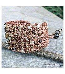 agate wristband bracelet, 'pai earth' (thailand)