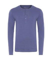 t-shirt masculina soho manga longa com 5 botões regular fit algodão pima - azul