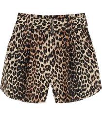 ganni leopard print linen blend shorts