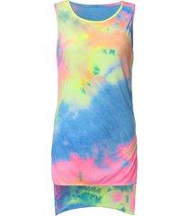 stampa arcobaleno maglia senza maniche in cotone senza maniche con o-collo in scatola irregolare