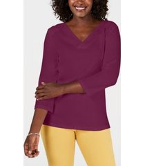 karen scott petite eyelet v-neck cotton top, created for macy's